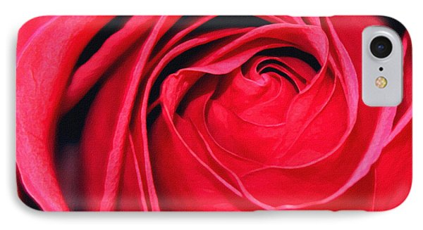 IPhone Case featuring the painting The Red Rose Blooming by Karon Melillo DeVega