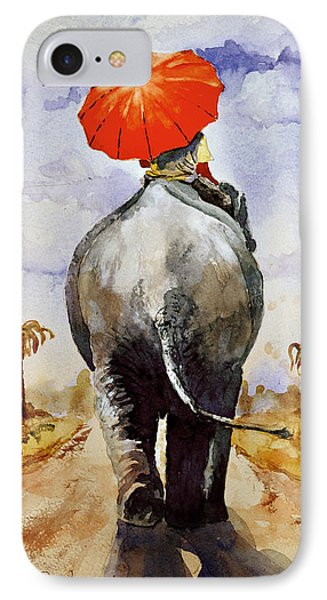 IPhone Case featuring the painting The Red Umbrella by Steven Ponsford