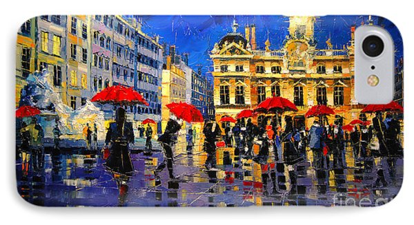 The Red Umbrellas Of Lyon IPhone Case by Mona Edulesco