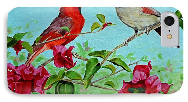 IPhone Case featuring the painting The Redbirds by Jimmie Bartlett