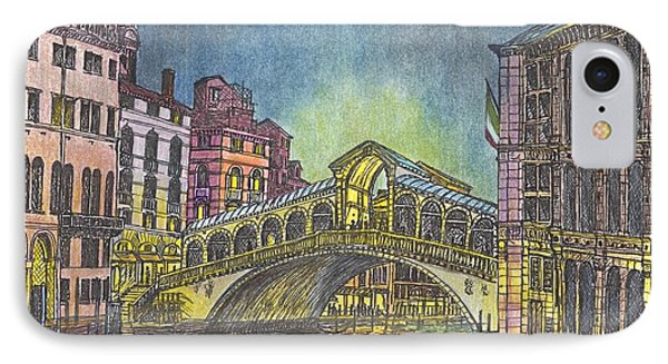 Relections Of Light And The Rialto Bridge An Evening In Venice  IPhone Case by Carol Wisniewski