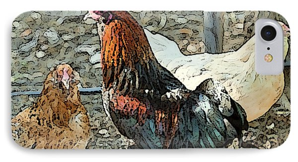 The Rooster And His Hens Phone Case by Artist and Photographer Laura Wrede