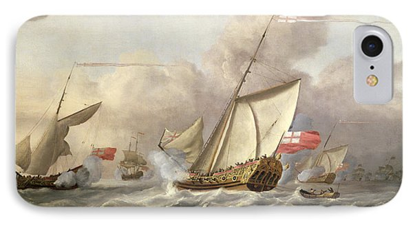 The Royal Yacht Mary Exchanging Salutes, 18th Century IPhone Case
