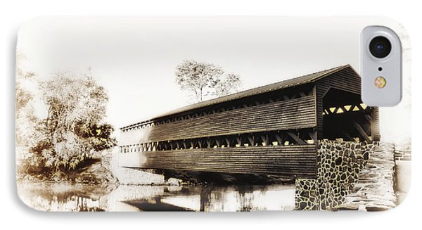 The Sachs Covered Bridge Near Gettysburg In Sepia Phone Case by Bill Cannon