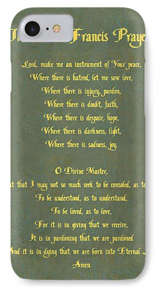 The Saint Francis Prayer In Gold Lettering On Green Leather. IPhone Case