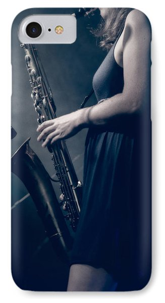 The Saxophonist Sounds In The Night Phone Case by Bob Orsillo