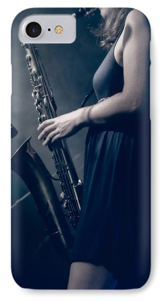 The Saxophonist Sounds In The Night IPhone Case by Bob Orsillo