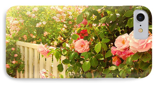 The Scent Of Roses And A White Fence IPhone Case by Sabine Jacobs
