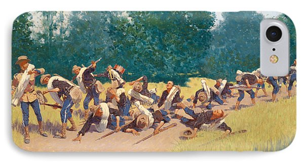 The Scream Of Shrapnel At San Juan Hill IPhone Case by Frederic Remington