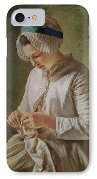 The Seamstress Or Young Woman Working IPhone Case by Francoise Duparc