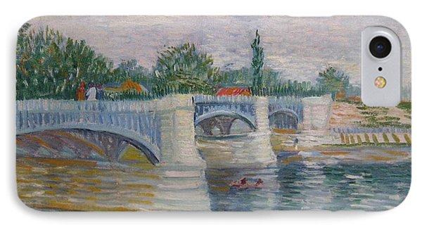 The Seine With The Pont De La Grande Jatte IPhone Case by Vincent van Gogh