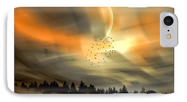 IPhone Case featuring the mixed media The Setting Sun Over The Rising Mist by Tyler Robbins
