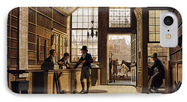 The Shop Of The Bookdealer Pieter Meijer Warnars On The Vijgendam In Amsterdam, 1820, By Johannes IPhone Case