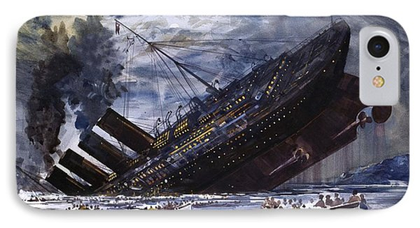 The Sinking Of The Titanic IPhone Case by Graham Coton