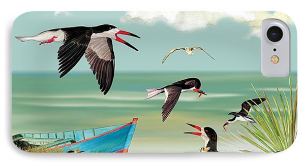 IPhone Case featuring the painting The Skimmers Of Margaritaville by Anne Beverley-Stamps
