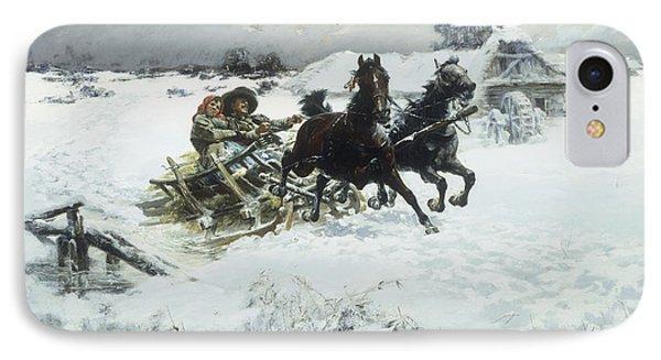 The Sleigh Ride IPhone Case by Jaroslav Friedrich Julius Vesin