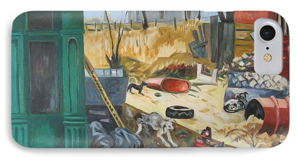 IPhone Case featuring the painting The Slum Dogs by Linda Novick