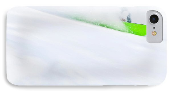 The Snowboarder And The Snow IPhone Case by Theresa Tahara