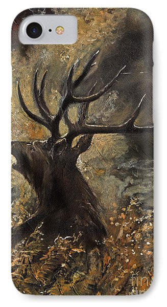 the Stag sitting in the grass oil painting Phone Case by Angel  Tarantella