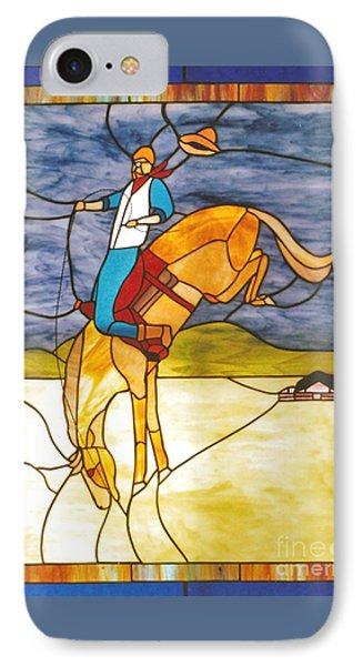 The Stained Glass Cowboy Riding Out The Bucks Phone Case by Patricia Keller