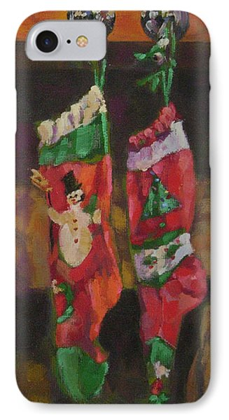 The Stockings Phone Case by Gloria  Nilsson