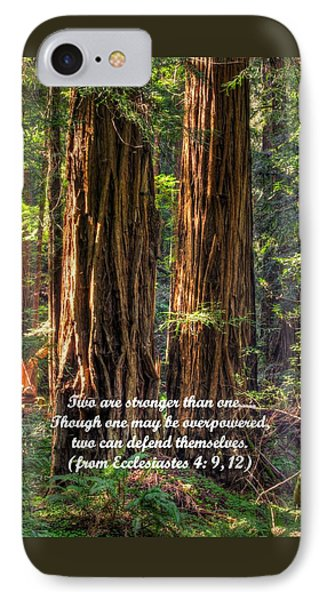 The Strength Of Two - From Ecclesiastes 4.9 And 4.12 - Muir Woods National Monument Phone Case by Michael Mazaika