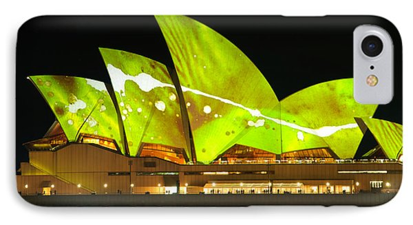 The Sydney Opera House In Vivid Green Phone Case by David Hill