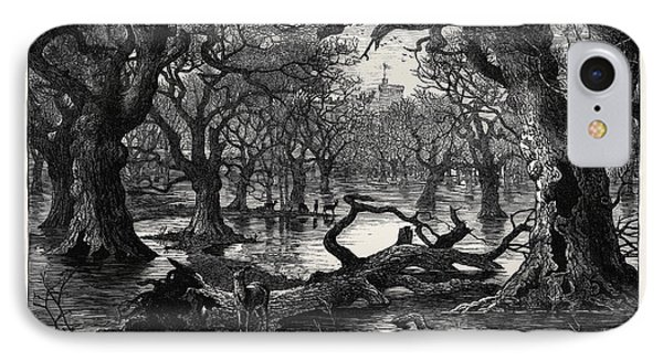 The Thames Floods Scene In The Home Park Windsor 1879 IPhone Case