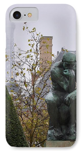 The Thinker And The Tower IPhone Case by Matt MacMillan