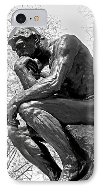 The Thinker In Black And White Phone Case by Lisa Phillips