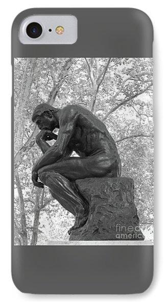 The Thinker - Philadelphia Bw IPhone Case by Ann Horn