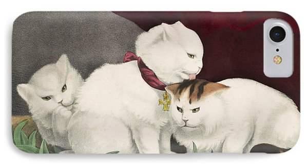 The Three White Kittens Circa 1856 IPhone Case by Aged Pixel