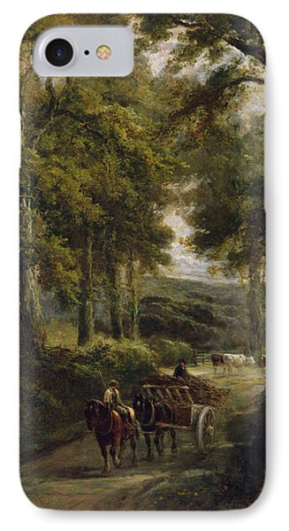 The Timber Wagon Oil On Canvas IPhone Case by Henry Earp