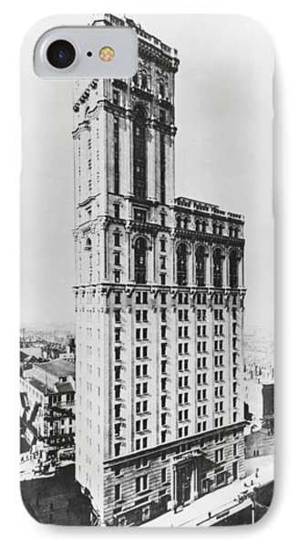 The Times Building, New York, C.1900 Bw Photo IPhone Case by American Photographer
