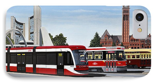 IPhone Case featuring the painting The Toronto Streetcar 100 Years by Kenneth M  Kirsch