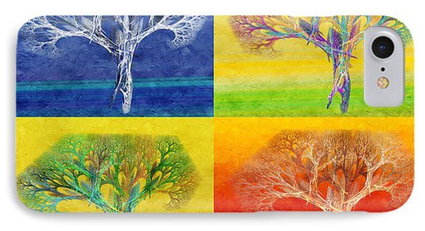 The Tree 4 Seasons - Painterly - Abstract - Fractal Art Phone Case by Andee Design
