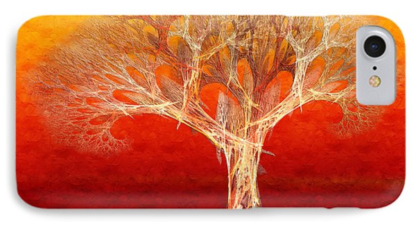 The Tree In Fall At Sunset - Painterly - Abstract - Fractal Art IPhone Case by Andee Design