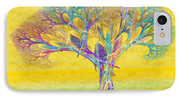 The Tree In Spring At Midday - Painterly - Abstract - Fractal Art Phone Case by Andee Design