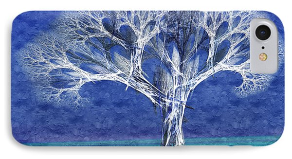 The Tree In Winter At Dusk - Painterly - Abstract - Fractal Art Phone Case by Andee Design
