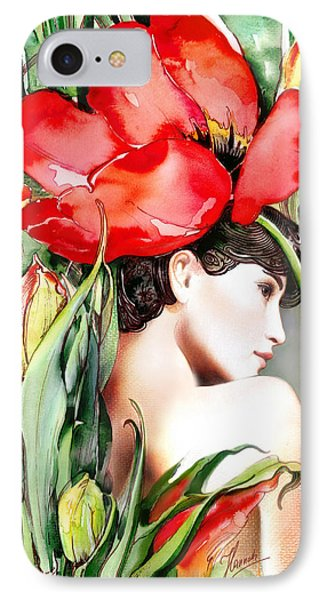 IPhone Case featuring the painting The Tulip by Anna Ewa Miarczynska