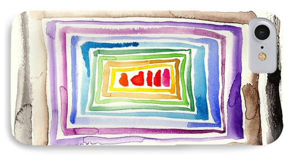 The Tunnel - Abstract Slash Watercolor IPhone Case by Tiberiu Soos