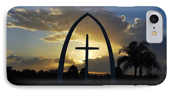 IPhone Case featuring the photograph The Universal Cross At Sunrise by Bob Sample
