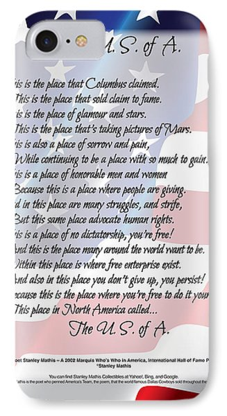 The U.s.a. Flag Poetry Art Poster Phone Case by Stanley Mathis