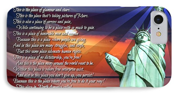 The Usa Statue Of Liberty Poetry Art Poster Phone Case by Stanley Mathis