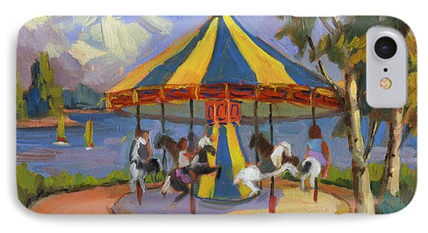 The Village Carousel At Lake Arrowhead IPhone Case by Diane McClary