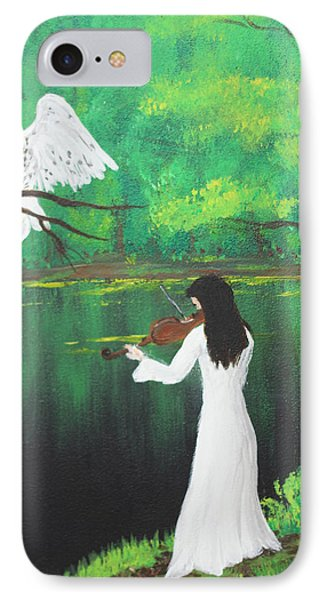 The Violinist By The River   IPhone Case by Patricia Olson