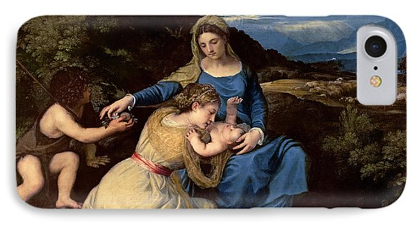 The Virgin And Child With Saints IPhone Case by Titian