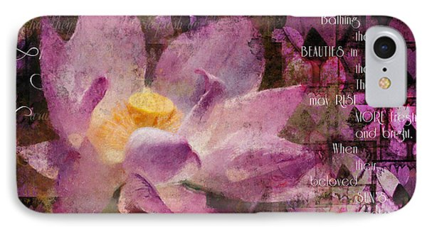 IPhone Case featuring the digital art Those Virgin Lilies - Moore Quote  by Nola Lee Kelsey