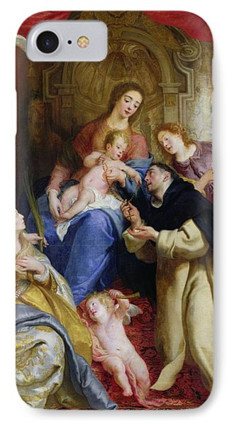 The Virgin Offering The Rosary To St. Dominic IPhone Case by Gaspar de Crayer