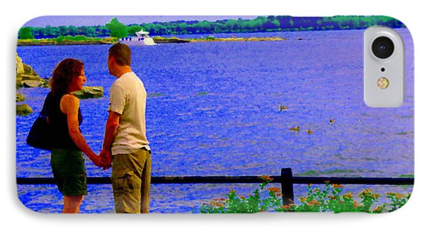The Vow Lovers Forever By The Lake Summer Romance St Lawrence Shoreline Scenes Carole Spandau Art Phone Case by Carole Spandau